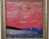 "sail boat racing pink sunset  needle felt painting,  all wool. "" home decor 14x14 "" with frame"
