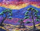 "Print of Abstract tree sunset needle felt landscape, print 8x10"" art home decor"