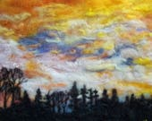 "Spring time yellow sky sunrise, forest, wood home decor. needle felt landscape 11x14"" No Frame"