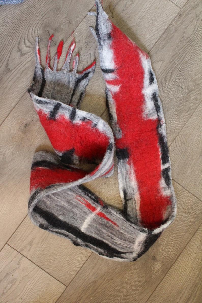 red grey black abstract art scarf superfine merino wool fancy image 0