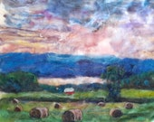 "summer hay bales, needle felt painting  16x20"" no frame"