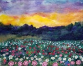 peony sunset all wool hand needle felted with embroidery and bead work 16x20in