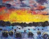 Hay bales, country sunset, farm, landscape needle felt painting 16x18 NO Frame