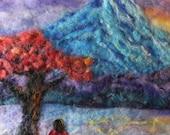 "women meditation blue mountain trail country landscape needle felt painting 16x20"""" home decor original art no frame"
