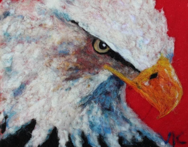 bald eagle needle felt painting original art wall decor image 0