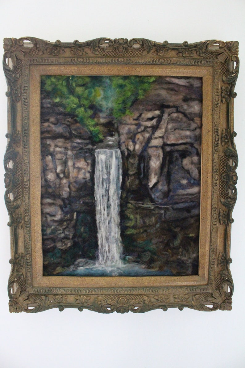 Taughnnock falls 16x20 inches neele felt  painting home decor image 0