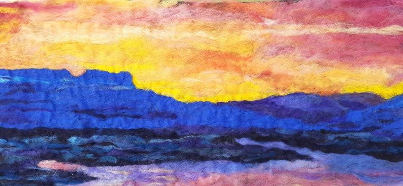 Abiquiu lake  new mexico western art needle felt painting. image 0