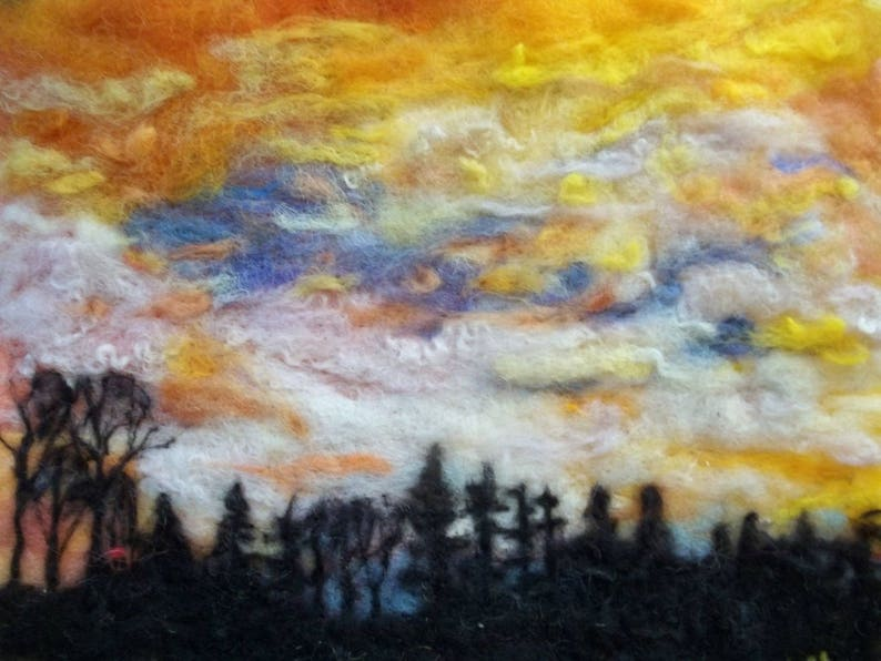 Spring time yellow sky sunrise forest wood home decor. image 0
