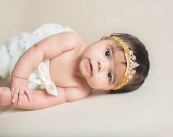 Gold Baby Tiara Headband.Baby Headband.Baby Princess Tiara Headband.Crown Headband.Baby Headbands.Newborn Headband.Baby Girl Headband.Tiara