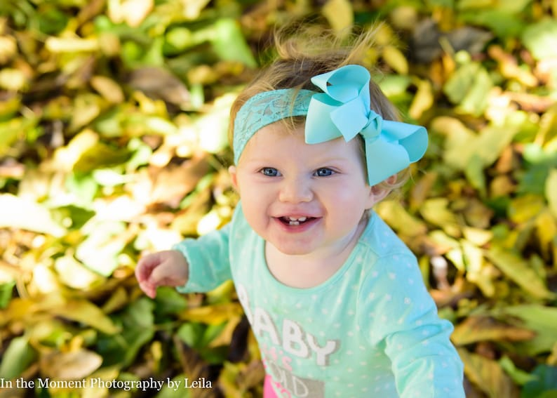 Lace Baby Bow Headband.Baby Hair Bow Lace Headband.Aqua Bow image 0