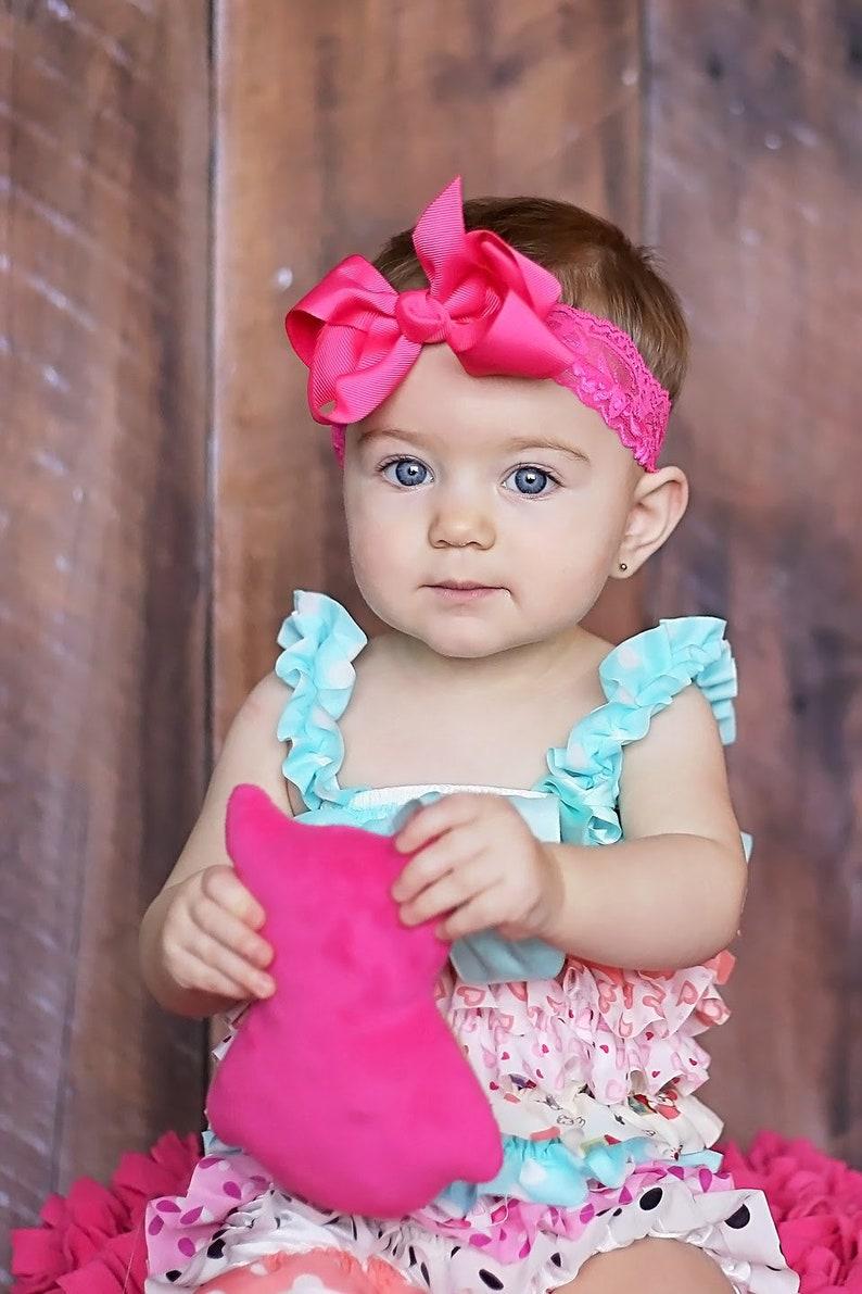 Hot Pink Baby Bow Lace Headband Hot Pink Bow Hot Pink image 0