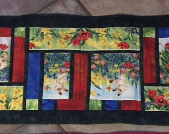 """Handcrafted Spring Bunny Quilted Table Runner 15"""" x 44"""""""