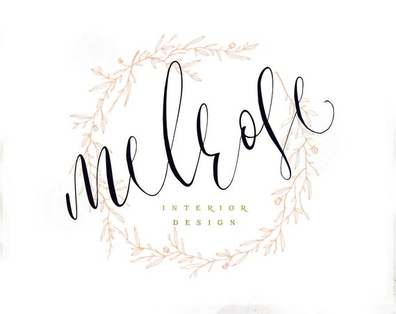 feminine logo -  logo design  - calligraphy logo - gold logo - watercolor logo - business branding - pretty logo - freshmint paperie