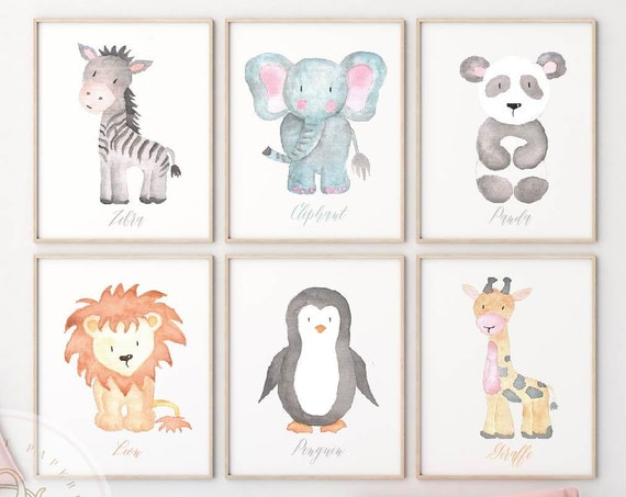 Safari Animals wall art, Jungle wall art, Nursery wall art, Lion wall art, Animal wall art, Panda Bear, Zebra wall art, Kids room wall art