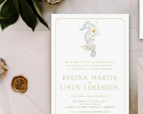 Beach Wedding Invitation | Wedding invitation | Nautical Wedding Invitation | Seahorse invitation | Nautical Wedding invitation | 125