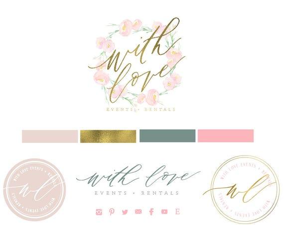 modern script logo | watercolor logo | calligraphy logo | pretty logo | blush pink logo | monogram logo - freshmint paperie
