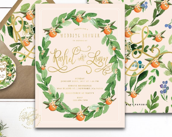 sweet nectarine invitation - blush gold invitation - tangerine invitation - watercolor invitation - freshmint paperie