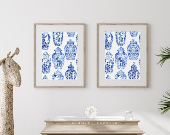 Chinoiserie wall art, Ginger Jar Wall Art, Blue and white Ginger Jar print, Chinoiserie print Wall Art, Nursery Art, Blue & white vase