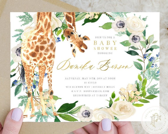 Giraffe invitations - safari invitation - baby shower invitation - watercolor invitation - Giraffe baby shower - freshmint paperie
