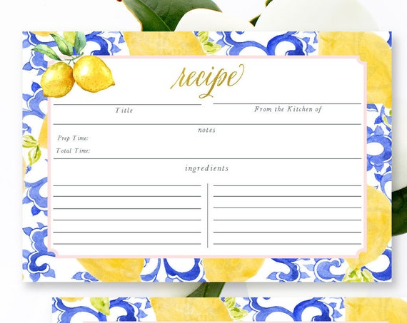 Recipe card - Blue Lemon - bridal shower Recipe cards - Blue tile - Bride - recipe cards - bridal shower games