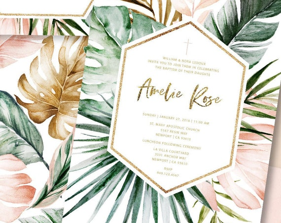 Baptism invitations - baptism invitation - christening Invitation - Palm Leaves invitation - religious invitation - dedication - Baptism 149
