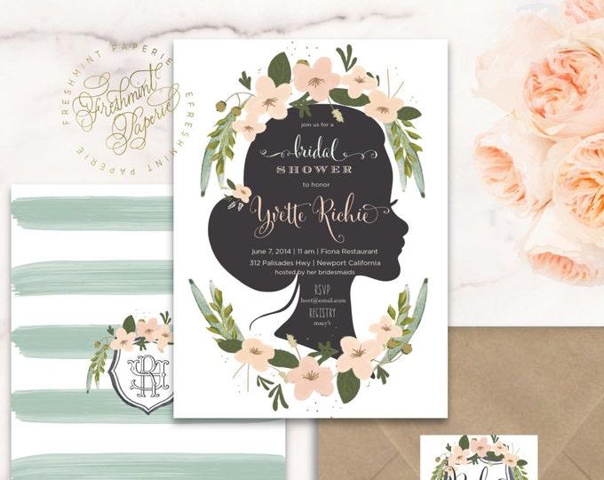 Eucalyptus invitation - Peach floral invitation - bridal shower invitation - watercolor invitation - watercolor  invitation - eucalyptus