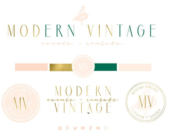 modern logo | pelican logo | calligraphy logo | pretty logo | blush pink logo | monogram logo - freshmint paperie