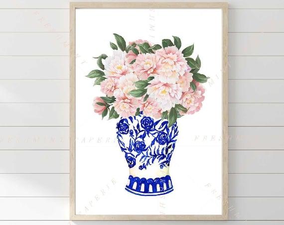 Chinoiserie wall art, Ginger Jar Wall Art, Blue and white Chinoiserie print, Chinoiserie print Wall Art, Peony Art, Peonies wall art