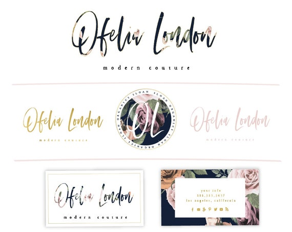 watercolor logo - calligraphy design - blush logo design - floral logo - chic logo - freshmint paperie