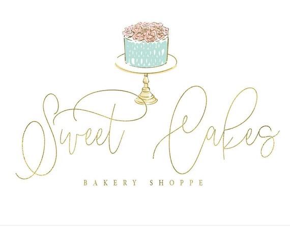 Cake logo - Bakery design - Calligraphy logo - Dessert Shop logo - bakery logo - Floral Cake logo - Pretty Logo design