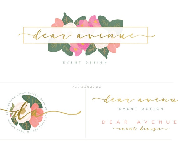 watercolor logo -  logo design  - calligraphy logo - flower logo - floral logo- gold logo - pretty logo - freshmint paperie