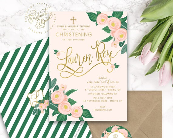 Baptism invitation - christening Invitation - Cross invitation - Religious invitation -  Girls baptism - Cross invite - 126