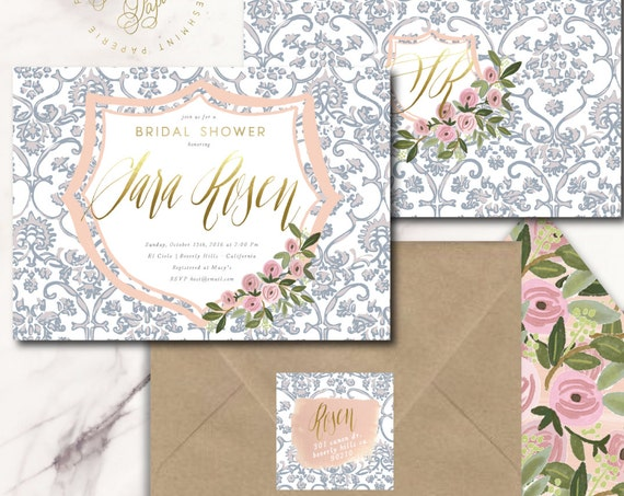 Crest invitation - floral invitation - bridal shower invitation - watercolor invitation - blue porcelain invitation - floral invitation