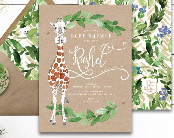 Giraffe invitations - safari invitation - baby shower invitation - watercolor invitation - kraft invitation - freshmint paperie