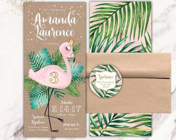 Flamingo invitation - pink flamingo invitation - tropical invitation - Flamingo Birthday - confetti invitation - freshmint paperie