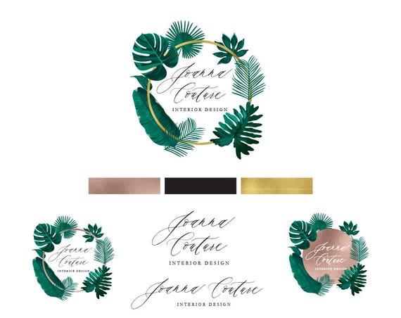 modern script logo - watercolor logo - blush logo - calligraphy logo - watercolor logo - leaf logo - freshmint paperie