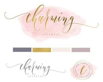pretty logo design - modern script logo - calligraphy logo - blush pink logo - watercolor logo - handwritten logo - freshmint paperie