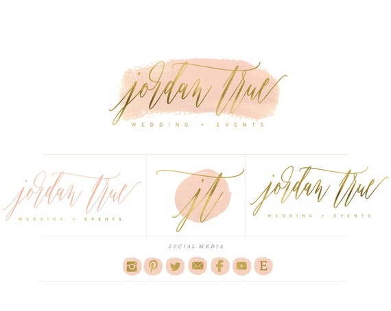 nude and gold logo - nude watercolor logo - calligraphy logo - logo - painted logo - gold foil logo - brush strokes -  freshmint paperie