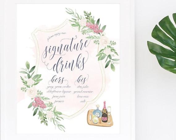 Wedding Drink Menu · Specialty Drink Menu Sign for wedding · Signature Drinks in calligraphy · Custom wedding stationery · Bar sign