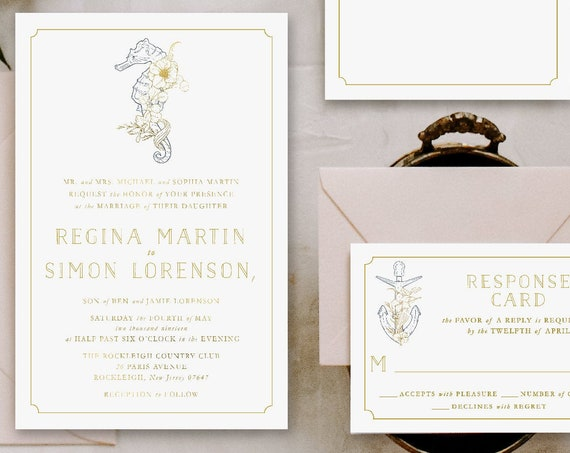 Classic Wedding Invitation | Wedding invitation | Beach Wedding Invitation | Nautical Wedding invitation | Elegant Wedding invitation