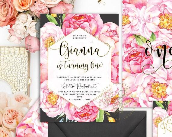 watercolor floral invitation - black floral invitation - floral invitation - chic invitation - watercolor - freshmint paperie