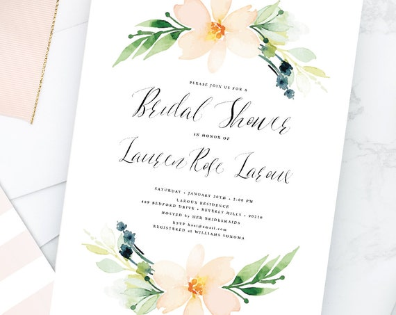 Peach Watercolor Flowers - floral invitation - bridal shower invitation - watercolor invitation - Peach Watercolor Floral invitation