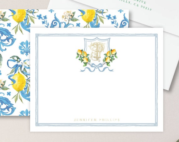 Personalized Stationery - Monogram Note Cards - Lemon Monogram Note Cards - Stationery Suite - Lemon Suite - set41