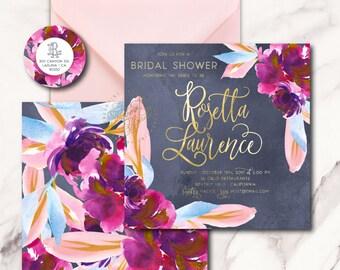 dark floral invitation - romantic invitation - wedding shower - watercolor invitation - freshmint paperie