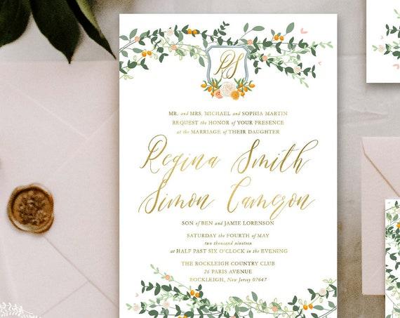Classic Wedding Invitation   Wedding invitation   Calligraphy Wedding Invitation   Orange invitation   Orange Grove Wedding invitation