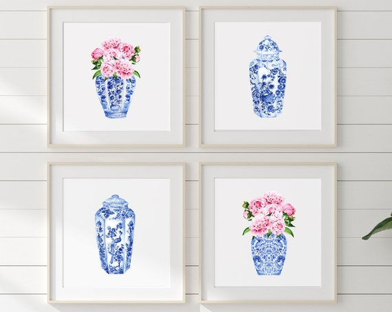 Chinoiserie wall art, Ginger Jar Wall Art, Blue and white Chinoiserie print, Chinoiserie print Wall Art, Peonies in Ginger jar