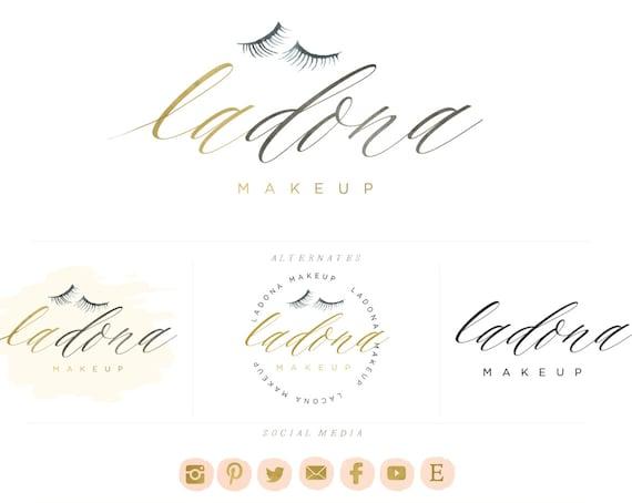 lash logo - brush script logo design - branding - calligraphy logo - eyelash logo - eyelash extensions - makeup logo design