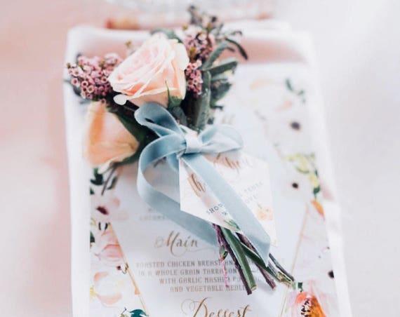menu cards | custom menu | calligraphy Menu | floral menu | table numbers | advice card | bridal shower stationery | Freshmint Paperie