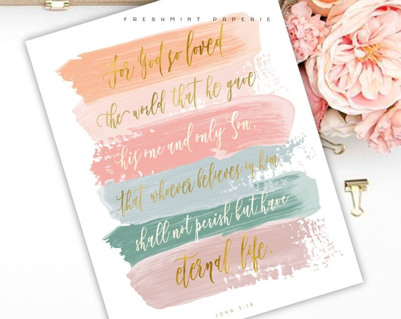 john 3:16  - bible verse - bible inspiration quotes - watercolor bible verse - freshmint paperie