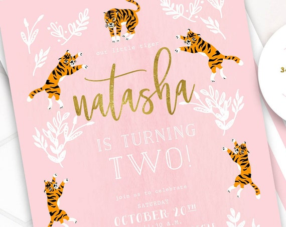 Tiger invitation - Party Animal Invitation - Zoo Party Wild Animal Invitation - Jungle Invitation - Tiger Theme - Pink Tiger Birthday
